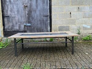 A Large Reclaimed Rustic  Oak and Metal Coffee Table