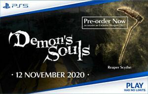 Demon's Souls: Reaper Scythe PreOrder Bonus DLC Code PS5 - NO GAME -