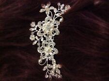 Vintage Style, Bridal Rhinestone Hair Comb, Wedding, Pearl Crystal Clip Slide UK