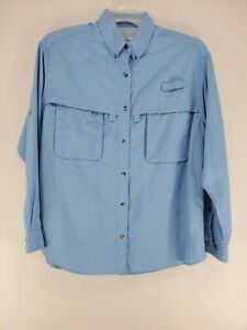 LL Bean Long Sleeve Vented Shirt Women's Sz Large Blue Insect Shield (y)