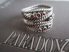 Authentic PANDORA Sterling Silver Hidden Romance Pink Rhodolite Ring Sz 6 1/2 54