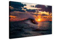 SEA WAVE OVER SUNSET CANVAS PICTURES WALL ART PRINTS FRAMED POSTER HOME PHOTOS