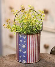 Country small distressed AMERICANA FLAG bucket