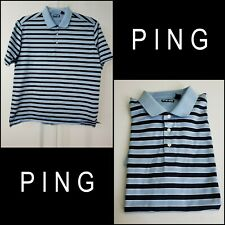 Ping Men Short Casual Formal Sleeve Stripe Polo Shirt Size XL Blue
