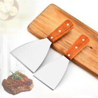 Kitchen Spatula Stainless Steel Wood Handle Frying BBQ Grilling Cooking Utensil