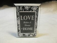 New~Glass Candle Lantern/Holder w/ Inspirational Message �Love Makes A House.