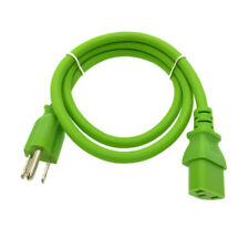 Green 3FT Universal 3Prong AC Power Cord Cable 18AWG Computer Printer Monitor TV