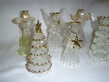 """Lot of 7 Transparent Glass Ornament Angels & Christmas Tree (4-1/2"""" Tall)"""