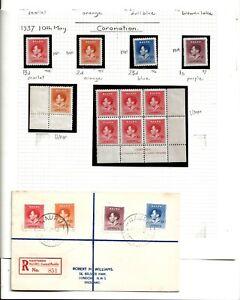 NAURU (Z-865) 1937 CORONATION GROUP MM & UMM MARGINALS & REGISTERED COVER