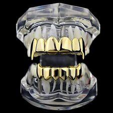 Best Grillz 14k Gold Plated Full Fang Set Top Bottom Vampire Fangs Hip Hop Teeth