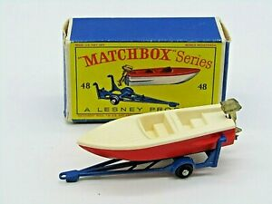 LESNEY MATCHBOX 48B SPORTS BOAT WITH TRAILER - VN MINT IN ORIGINAL BOX