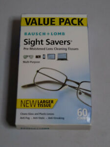 Bausch & Lomb Sight Savers Pre-Moistened Lens Tissues 60 CT BOX - NEW