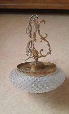 Vintage Lüster Kronleuchter Lampe + Messing Montur + Glas Lampenschirm