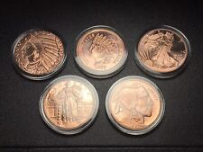 The US Coin Design Lot Of 5 - 1 Oz. 999 Fine Copper Rounds in Capsules