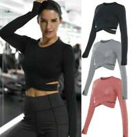 Women Workout Tank Top T-shirt Sports Gym Clothes Fitness Yoga Long Sleeve Vest