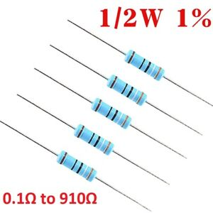 1/2W Metal Film Resistor ±1% 0.5W Resistance Range 0.1Ω 0.33Ω 0.43Ω 1Ω to 910Ω