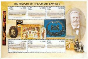 MODERN GEMS - Sierra Leone - History of the Orient Express - Sheet of 6 - MNH