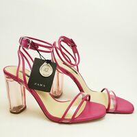 Zara Womens NWT Block Heel Pump Sandal Shoes Strappy Pink Clear US 6.5 EU 37 UK4