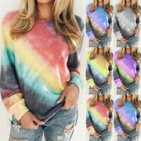 Womens Casual Gradient Blouse Long Sleeve Top Pullover Loose Sweatshirt T-Shirt