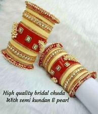 Rajwadi Dulhan Set Wedding Kundan Pearl Chura Bridal Bangle Acrylic Plastic Red