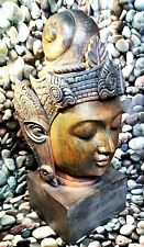 More details for large bronze effect buddah head/bust 38 cm heavy. very detailed rare collectable