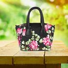 Women Satchel Crossbody Shoulder Bag PU Leather Floral Print Tote Handbag Purse