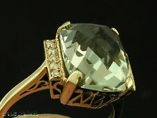 C1228- STRIKING 9ct Solid GOLD Natural GREEN Amethyst & Diamond Ring in yr size