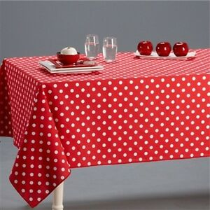 RED / WHITE POLKA DOT PURE 100% COTTON TABLE CLOTH COVER / NAPKINS LINEN