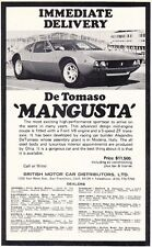 1969 DE TOMASO MANGUSTA / BRITISH MOTOR CAR DISTRIB ~ ORIGINAL SMALLER PRINT AD
