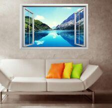 3D Window Scenery Lake Mountain Landscape Wall Sticker Vinyl Decal Wallpaper