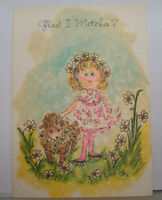 Vintage Greeting Card Norcross Informal Glad I Metcha Little Girl Sheep Flowers