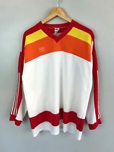 Rare Vintage ADIDAS Made In West Germany Long Sleeve Hockey Jersey Size XL