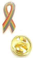 Small Rainbow Awareness Enamel Ribbon Pin Badge