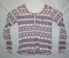 Tommy Hilfiger Womens Pajamas Set Pink/Navy Size Medium Crew Neck Slim Pant