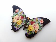 BEAUTIFUL VINTAGE WOODEN ROSE FLOWERS BUTTERFLY BROOCH PIN WHIMSICAL
