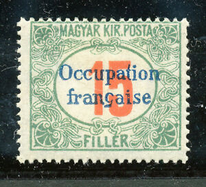 Hungary-1919 SC # 1NJ4 French Occup15f Postage Due,-MLH