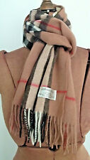 """64"""" X 12"""" CASHMERE & CO. Camel Multi-Color Plaid CASHMERE LAMBSWOOL Fringe SCARF"""