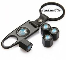 Válvula De Neumático Rueda x5 Negro Polvo Tapas Llave Spanner Set antirrobo para adaptarse a Bmw UK
