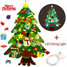DIY Felt Christmas Tree LED Ornaments Wall Hanging Decor New Year Gifts Kids Toy