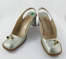 """Louis Vuitton Ladies Shoes Pump Silver Leather Size 6.5"""" Block Heel 2.5"""" Italy"""