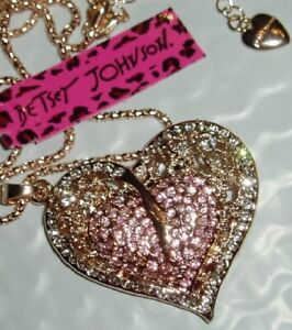 Betsey Johnson Crystal Heart Rose Gold Pendant Chain Necklace Free Gift Bag