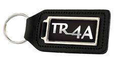 Triumph TR4A Rectangle Black Leather Keyring