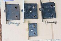 Antique Vintage Lot of 4 RH Co. Mortise Locks 2 w/ Original Skeleton Keys