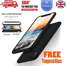 Acrylic Hybrid 360° Ultra Thin Case + Gorilla Glass Protection For iPhone X 10