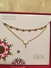 NORDSTROM RACK Sterling Silver DOUBLE LAYER CZ INITIAL 'T' PENDANT NECKLACE