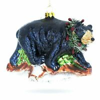 Black Bear Glass Christmas Ornament