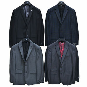 Rock & Republic Blazer Mens Coat Sport Slim Jacket Blue Black Plaid Long Regular