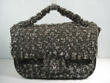 Chanel Grey Black Tweed Leather Shoulder Flap Bag Cross Body Handbag Purse NEW