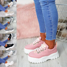 2bd6df2896aa4c WOMENS LADIES PLATFORM TRAINERS LACE UP SNEAKERS PLIMSOLLS COMFY FASHION  SHOES