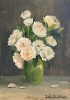 A3 Print of Original oil painting art flowers floral white peonies vintage style